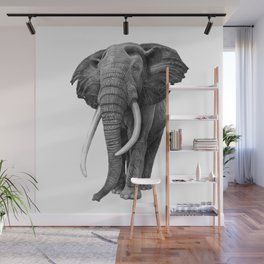 Bull elephant - Drawing in pencil Wall Mural