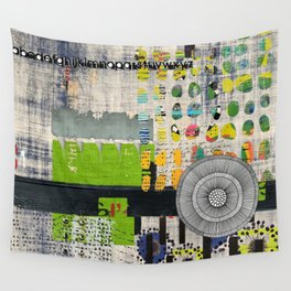 Lime & Navy Abstract Art Collage Wall Tapestry