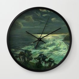 Midnight Moonlight, St Ives' Bay nautical coastal landscape painting by Julius Olsson Wall Clock