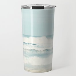 Ocean Photography, Calming Sea Photo, Blue Waves Seascape Photograph, Beach Print Travel Mug