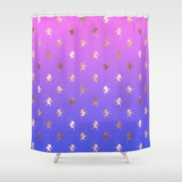 Pink Purple Blue Gradient With Rose Gold Unicorn Pattern Shower Curtain
