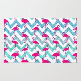 Go Flamingo! Tropical Pink Neon Flamingos Teal Glitter Chevron Rug