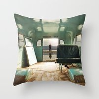door Throw Pillows featuring Emergency Door by Rachel Bellinsky