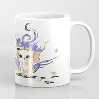 okami Mugs featuring Little Cerberus in Okami style by Clgtart