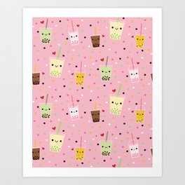 Happy Boba Bubble Tea Pink Art Print
