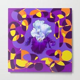 Artful Modern Purple-White Iris Yellow-Orange Design Metal Print