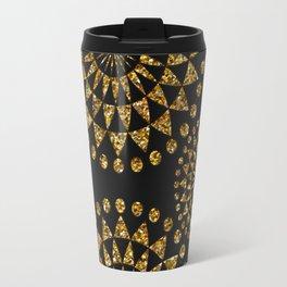 Gold glamour faux glitter ornament shimmering black Travel Mug