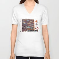 mexico V-neck T-shirts featuring New Mexico by Christiane Engel