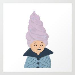 Ice cream hair girl Art Print