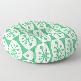 Mid Century Modern Atomic Fusion Pattern Green Floor Pillow