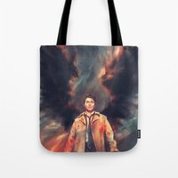 angel Tote Bags featuring The Angel of the Lord by Alice X. Zhang