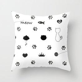 Doodle cat paw prints. Cat silhouette, fish, crown, hearts, meow text... etc symbols seamless fabric design pattern vector.jpgDoodle cat paw prints. Cat silhoutte, fish, crown, hearts, meow text... etc symbols seamless fabric design pattern  Throw Pillow