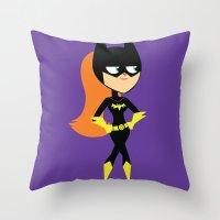 batgirl Throw Pillows featuring Batgirl by Adrian Mentus