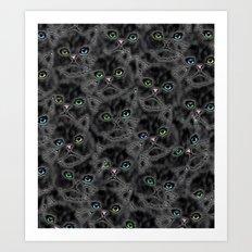 Black Kitten Faces Art Print