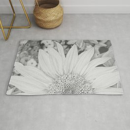 """""""Sunrise Sunflower"""" - Black and White Pencil Drawing Rug"""