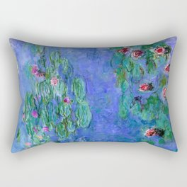 Claue Monet Waterlilies Red Rectangular Pillow