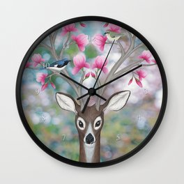 white tailed deer, black throated blue warblers, & magnolia blossoms Wall Clock