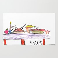 thanksgiving Area & Throw Rugs featuring Thanksgiving Feast by Ryan van Gogh