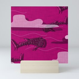 Whale Shark Pink #nautical #whaleshark Mini Art Print