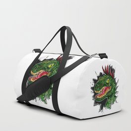 Watercolor velociraptor portrait Duffle Bag