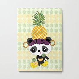 Carmen Miranda Kawaii Panda with Pineapple Metal Print