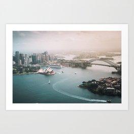 Sydney Opera House Harbour Bridge | Australia Aerial Travel Photography Art Print
