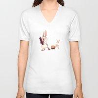 rabbits V-neck T-shirts featuring Rabbits by Anya McNaughton
