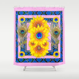 PINK-BLUE PEACOCK SUNFLOWERS DECO JEWELED Shower Curtain