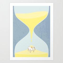 Cat In The Sand Clock Art Print