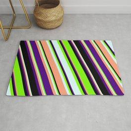 Eye-catching Green, Light Cyan, Light Salmon, Indigo & Black Colored Lines/Stripes Pattern Rug