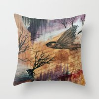 literary Throw Pillows featuring Literary Flying Fish by Sarah Sutherland