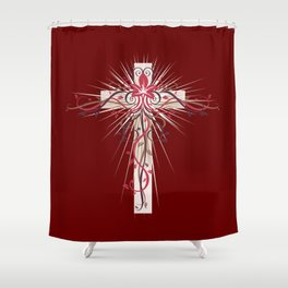 The Lily of the Valley on Cross Shower Curtain