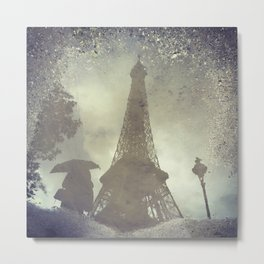 Eiffel Tower Lady Shrouded In Obvious Mystery Metal Print