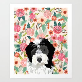 Bernedoodle floral pet portrait art print and dog gifts Art Print