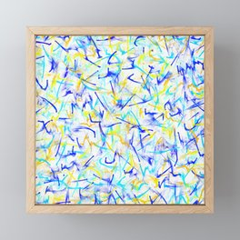 Electric Yellow Lightning & Neon Blue Line Abstract Framed Mini Art Print