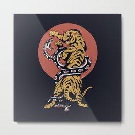 Classic Tattoo Snake vs Tiger Metal Print