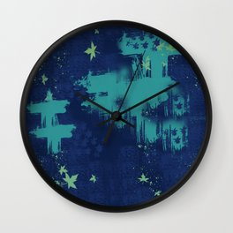 Ble Sky and Leaves Wall Clock