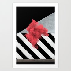 Red Smoke Cloud Art Print