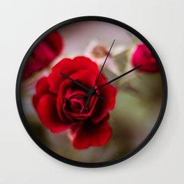 Beautiful red rose flowers Wall Clock