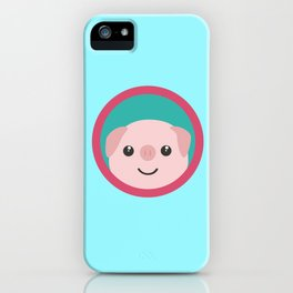 Cute pink pig with purple circle iPhone Case
