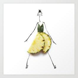 Edible Ensembles: Yellow Pineapple Art Print