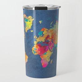 world map blue 2061 #map #worldmap Travel Mug