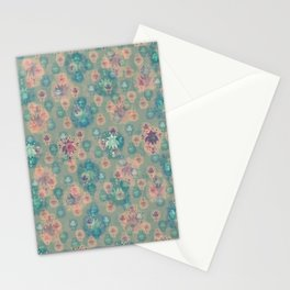 Lotus flower - pistachio green woodblock print style pattern Stationery Cards