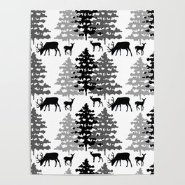 Woodland Rustic Deer Winter Mountain Forest Trees Poster