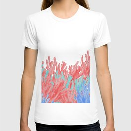 Modern nautical coral blue teal floral reef T-shirt