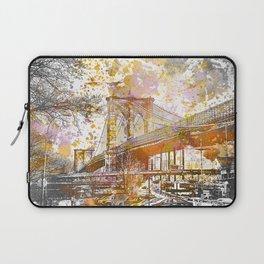 Brooklyn Bridge New York Mixed Media Art Laptop Sleeve