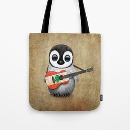 Baby Penguin Playing Lebanese Flag Acoustic Guitar Tote Bag