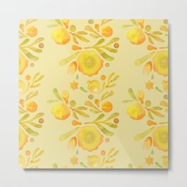 Granada Floral in Yellow Ochre on yellow Metal Print