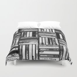 Music Cassette Stacks - Black and White - Something Nostalgic IV #decor #society6 #buyart Duvet Cover