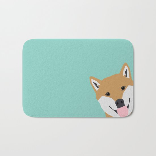 Shiba Inu Peek - cute shiba doge peeking funny dog art print mint turquoise customizable dog gift Bath Mat